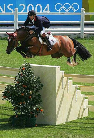 Big air!  Lovely jump. Nick Skelton and Arko III at the Athens 2004 Summer Olympics. Flying.
