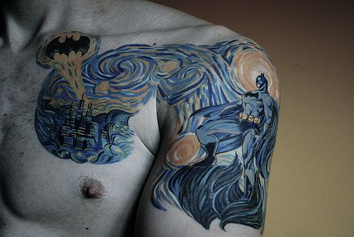 Batman Van Gogh: Tattoo Ideas, Gotham Cities, Vans Gogh, Comic Books, Batman Tattoo, Tattoo'S, A Tattoo, Van Gogh, Starry Nights