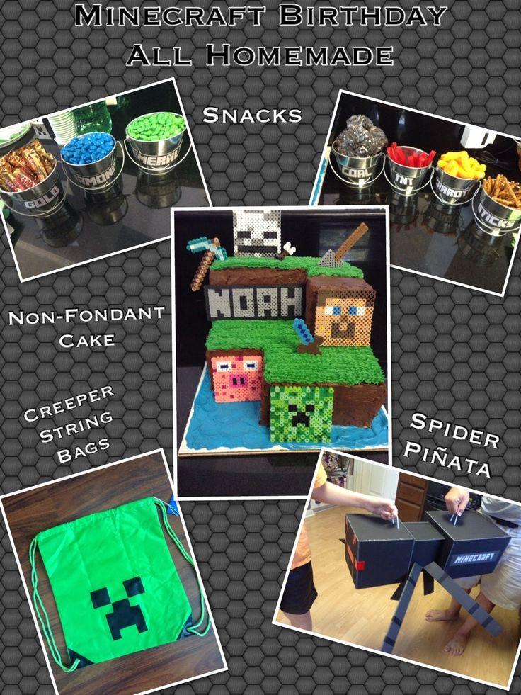 Homemade Minecraft Birthday  Non-Fondant Cake Creeper String Bags Spider Piñata Minecraft Snacks
