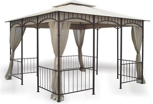 DC America GO31215BRBDC-GM,11ft. 5-In by 11ft. 5-In Gazebo w/ Insect Screen Tent