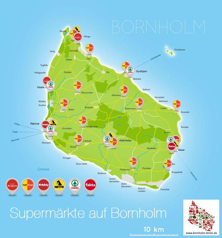 Supermärkte auf der Insel Bornholm: Dagli Brugsen, Super Brugsen, Kvickly, Fakta, Euro Spar, Super Spar, Netto  #Karte #Info #Supermaerkte #Bornholm #DagliBrugsen #SuperBrugsen #Kvickly #Fakta #EuroSpar #SuperSpar #Netto