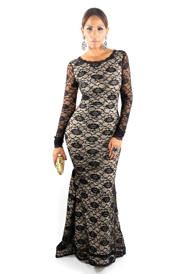 Stunning Black Long Sleeves Mermaid Lace On Nude Evening Dress With Keyhole Back