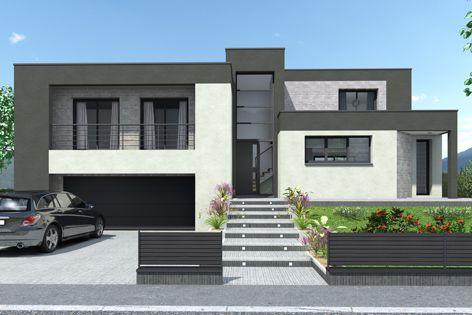 maison demi-niveaux façade