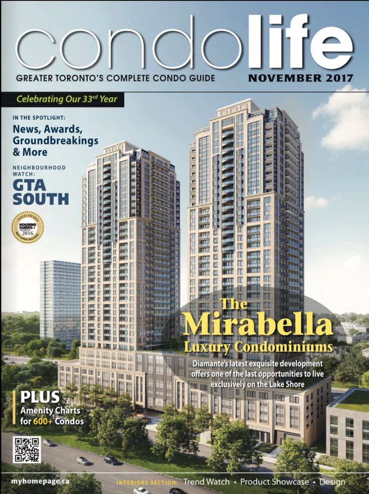 Find your new condo today with CONDO LIFE magazine! The free November virtual magazine is online for you at this link: http://digitalcondolife.myhomepage.ca/2017/November/?1 Use editorial, builder ads, detailed amenity charts and colour-coded maps to over 600+ new condo developments to make finding your new condo easy and fun. Cover: Mirabella Condos