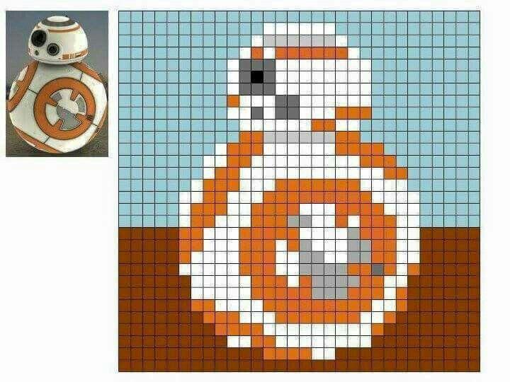 BB8 Star Wars C2C Graphgan Graph Perler Hama Pattern by Emma Hill