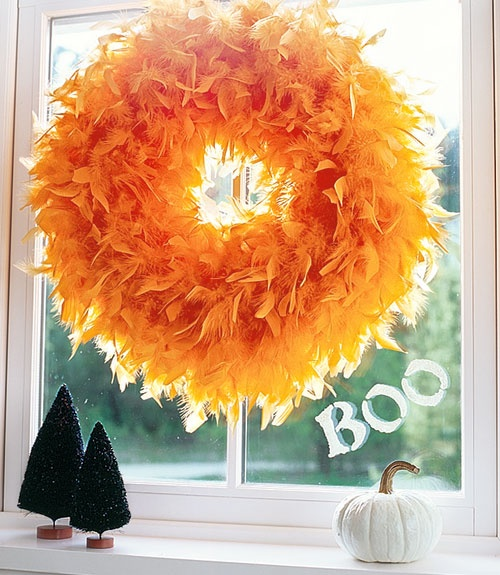Halloween Feather Wreath - maybe white feather boa with lights?
