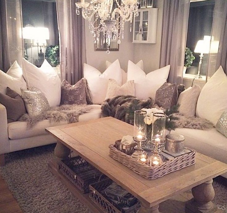 Glam Glitter And Ivory Living Room Classy Transitional Elegance