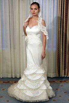 Karen Hendrix - Fall 2012 - Presley Strapless Silk Mermaid Wedding Dress with…