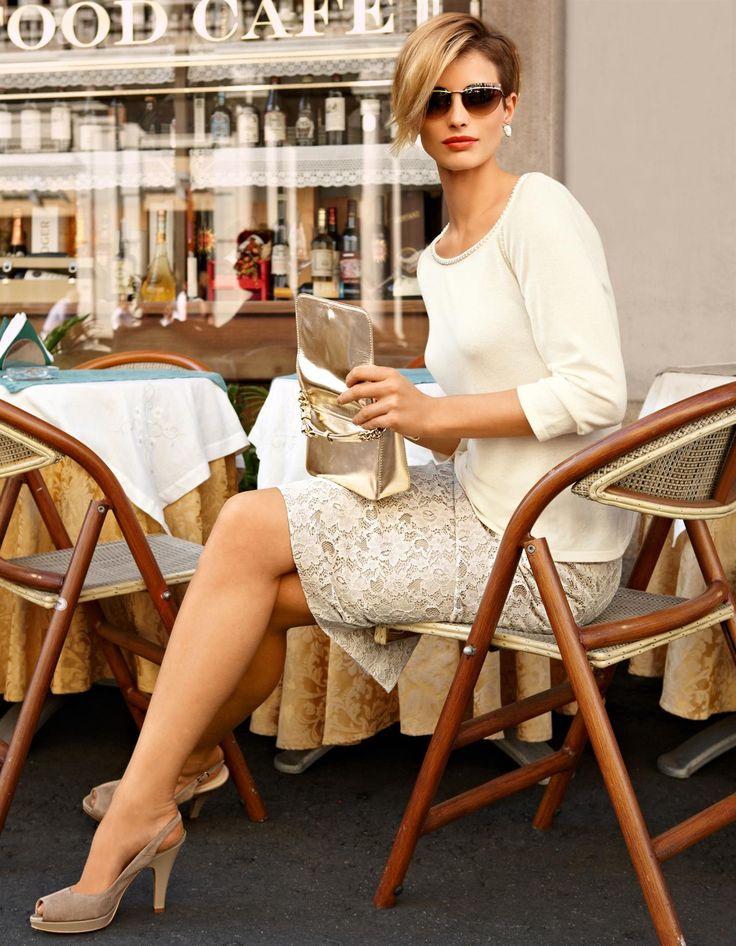Spitzenrock in der Farbe creme - hellbraun - im MADELEINE Mode Onlineshop