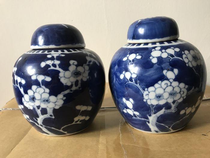 Porselein gember potten - China - eind 19e eeuw  Dit is een paar van 19e eeuwse Chinese gember blikjes geschilderd plum blossoms bodem met twee ringen van blauwe cirkel grootte: 15cm hoog.  EUR 0.00  Meer informatie