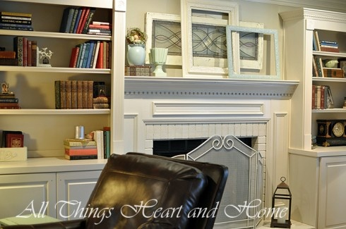 pretty bookshelves and mantle
