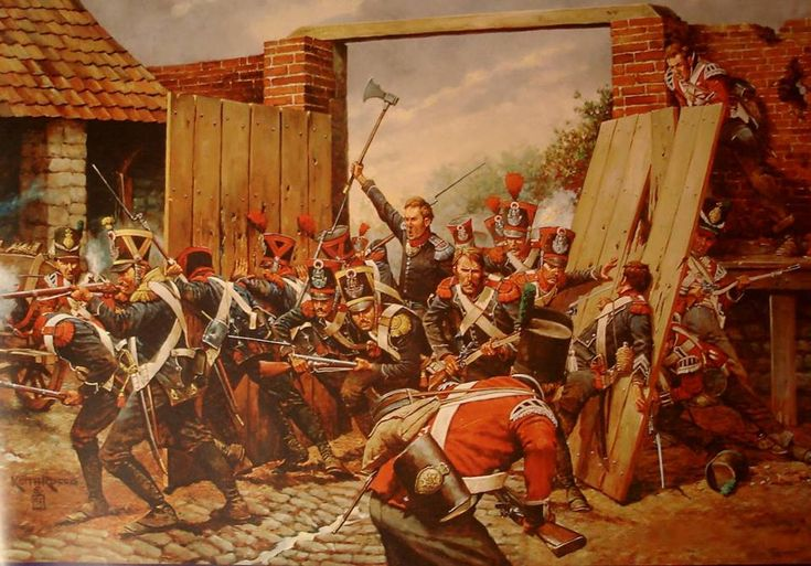 "Battle of Waterloo. The lieutenant Legros's ""1st Léger"" leading an assault on the northern gate of the farm of Hougoumont (painting by Keith Rocco - observed members of the elite companies of the 1st ""Carabiniers"" and ""voltigeurs"")."
