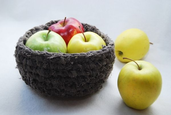 Upcycled Pants Bowl #Bowl, #Crochet, #DIY, #Fiber, #Pants, #Textile, #Upcycled