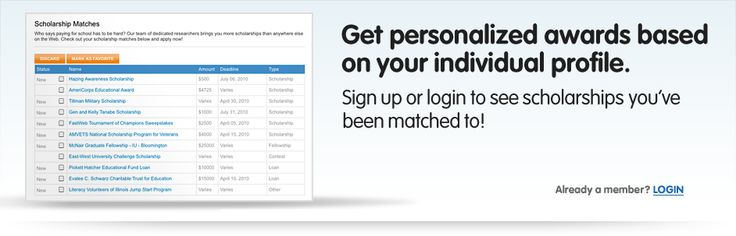 Get personalized awards based on your individual profile. Sign up or login to see scholarships you've been matched to. Join Fastweb today!