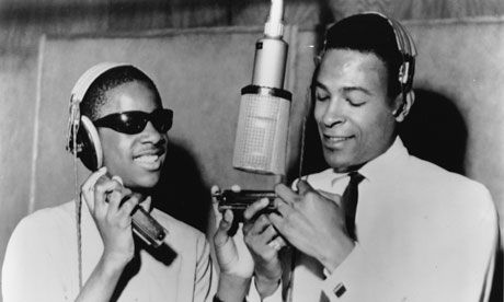 Stevie Wonder and Marvin Gaye at the microphone in Motown's Detroit recording studio in 1965.  Ph. Gilles Petard