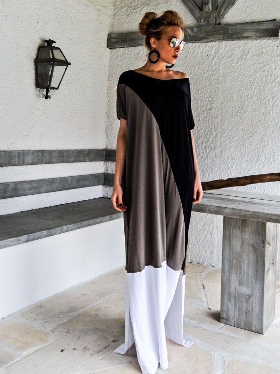 Robe Maxi noir & gris / noir caftan gris / par SynthiaCouture