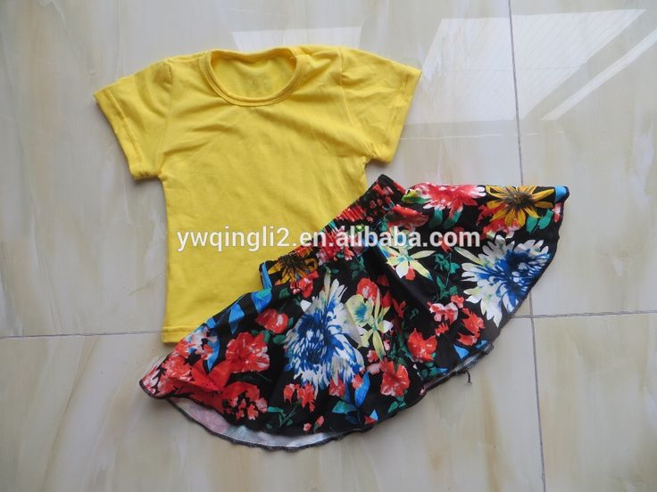 2016 wholesale children's boutique clothing matching Marine printing skirt and yellow sleeve top baby suit