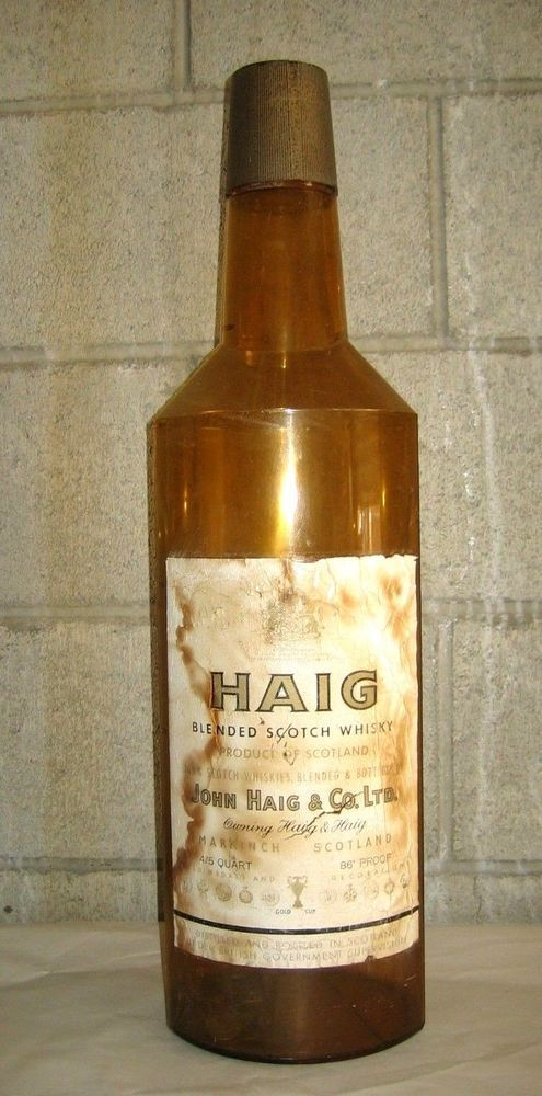 Vtg oversize 24 haig sotch whisky coin bank brown plastic for Plastic bottle coin bank