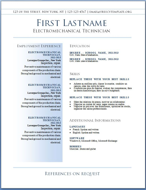 43 best resume images on pinterest resume templates cv template basic free resume templates - Professional Resume Format For Experienced Free Download