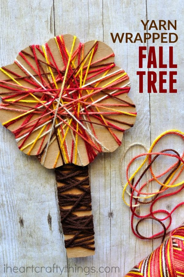This yarn wrapped fall tree craft is not only gorgeous but it is also awesome for toddlers and preschoolers for working on strengthening fine motor muscles. Great fall kids craft, preschool craft and fine motor activity.