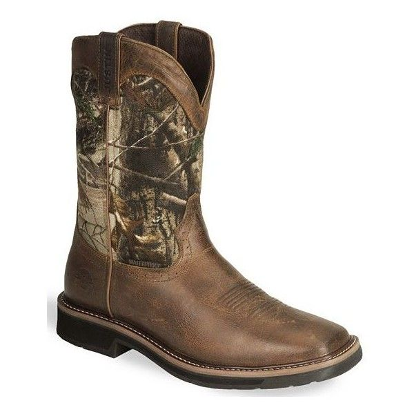 Justin Stampede Camo Waterproof Pull-On Work Boots ❤ liked on Polyvore featuring shoes, boots, cowboy boots, pull on work boots, tan leather boots, waterproof leather boots and square toe cowboy boots