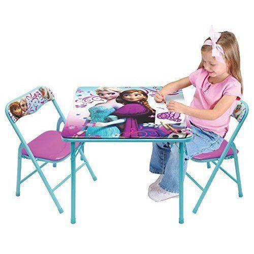 Kids Frozen Activity Table Chairs Set Furniture Children Sturdy Metal Folding #KidsFrozenActivityTableChairsSet