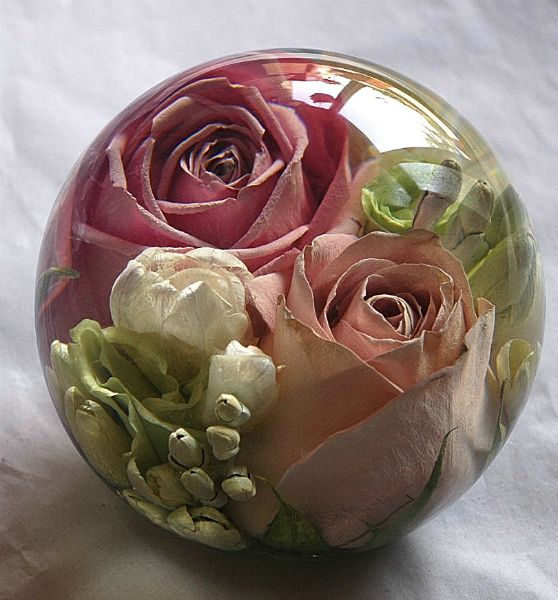 Have your wedding flowers made into a keepsake paperweight by the Flower…