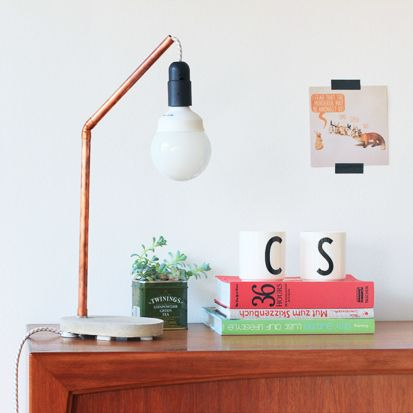 Turn me on! DIY cement and copper desk lamp tutorial.