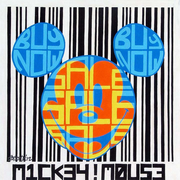 """Universal Product Code"" by Tennessee Loveless - Original Mixed Media on Canvas, 14x14.  #Disney #MickeyMouse #DisneyFineArt #TennesseeLoveless"