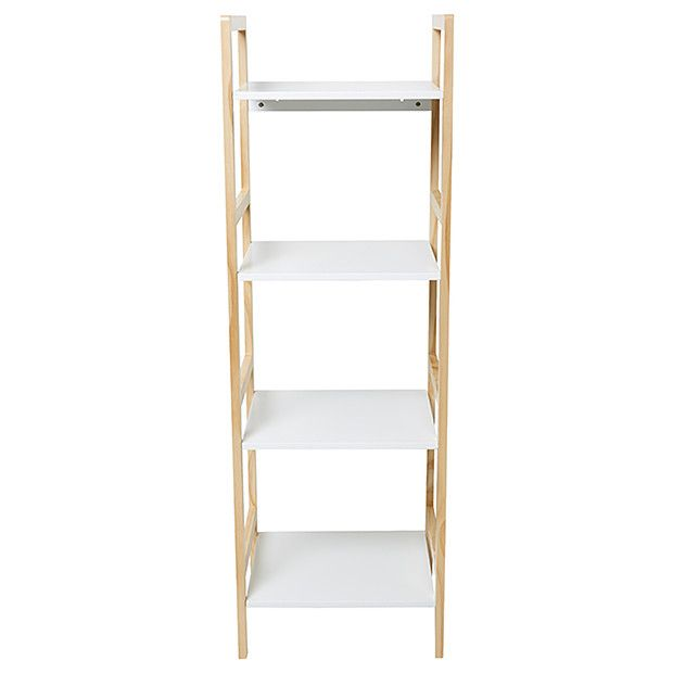 Four Tier Shelf Unit - White & Pine | Target Australia