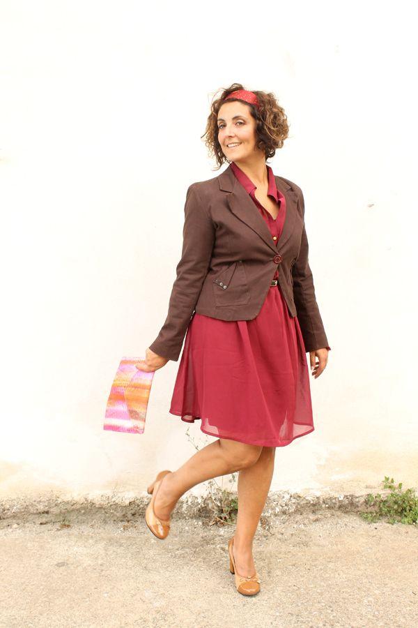 abito con elastico in vita, vestito bordeaux, bonprix for curves, bonprix sizes, vestito per fisico a pera, giacca marrone, giacca con vesti...
