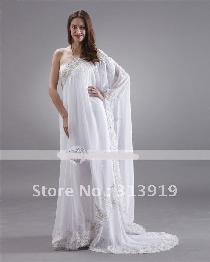 Free shipping one shoulder saree style kaftan beach for Sari inspired wedding dress