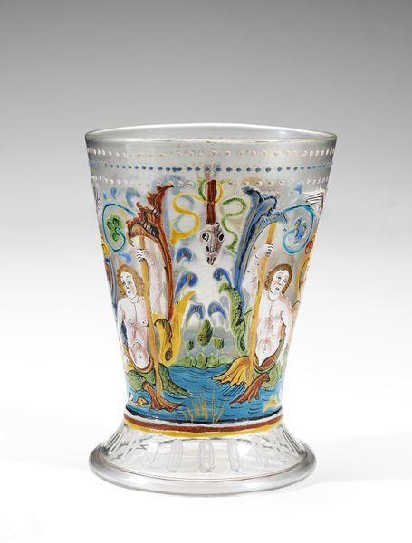 Beaker, Italy (Venice), 1500-1525, enamelled glass, Height: 13.0 cm, Width: 9.0 cm maximum.