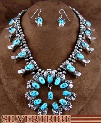 Native American Jewelry Navajo Indian Silver Sleeping Beauty Turquoise