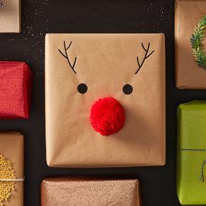 How to Make Easy Reindeer Nose Gift Wrap #easy #reindeer #nose #giftwrap #rudolph #pompom #christmas #present #gift #simple #diy #handmade #kids #craft