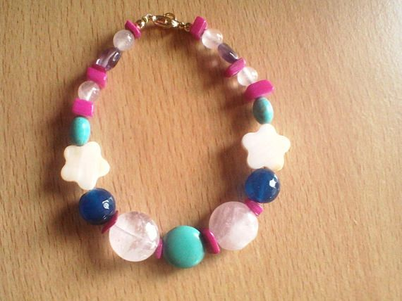 Semi-precious gemstone crystal Reiki bracelet with pinks and blues