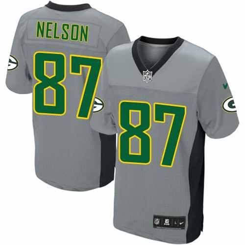 Men's Grey Shadow Nike Game Green Bay Packers #87 Jordy Nelson NFL Jersey $79.99