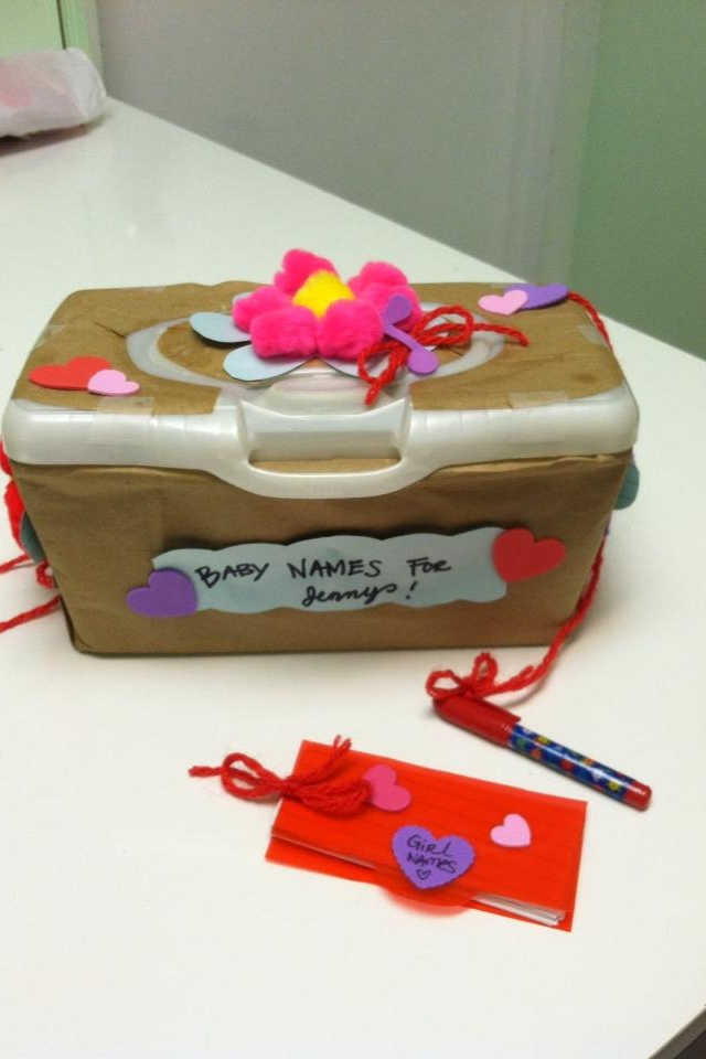 Baby names suggestion box for work. Old wipes box