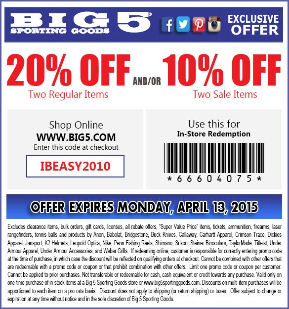 In Store and online Twenty Percent Off one regular priced items and/or ten percent off one sale priced items - Coupon Expires: 4-6-2015  -- In-Store Coupon Code: 66603315 -- Online Coupon Code:IBSEGG2010 - Excludes clearance items, bulk orders, gift cards, licenses, all rebate offers, 'Super Value Price' items, tickets, ammunition, firearms, laser rangefinders, tennis balls and products by Anon, Babolat, Bridgestone, Buck Knives, Callaway, Carhartt Apparel, Crimson Trace, Dickies Apparel…