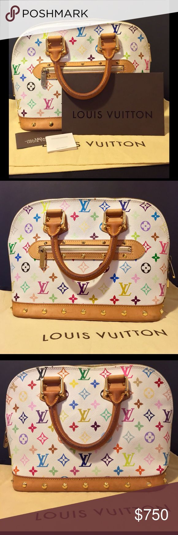 👜Louis Vuitton👜 Alma Multicolor Monogram Purse 💖GENTLY USED💖 Louis Vuitton Murakami limited edition purse by Takashi Murakami 💸bought at Tyson's Corner in D.C., made in 2004 & 💯% authentic!!! 🍒EUC: minimal signs of wear as seen in all pics provided - NO rips, tears, holes, ink, or makeup stains ⚡️some water stains on bottom & edges, etc. of Patina w/ wear on handles as well 👜Incl dustbag, cert of auth & box (box kinda beat up) 💲MAKE AN OFFER💲💐BUNDLE DISCOUNTS💐 🚫NO LOW BALLING…