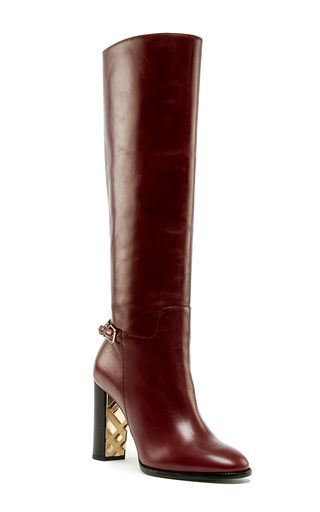 Chestnut Check Detail Marston Boot by BURBERRY for Preorder on Moda Operandi