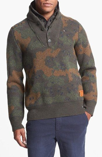 G-Star Raw Camo Quarter Button Sweater available at #Nordstrom
