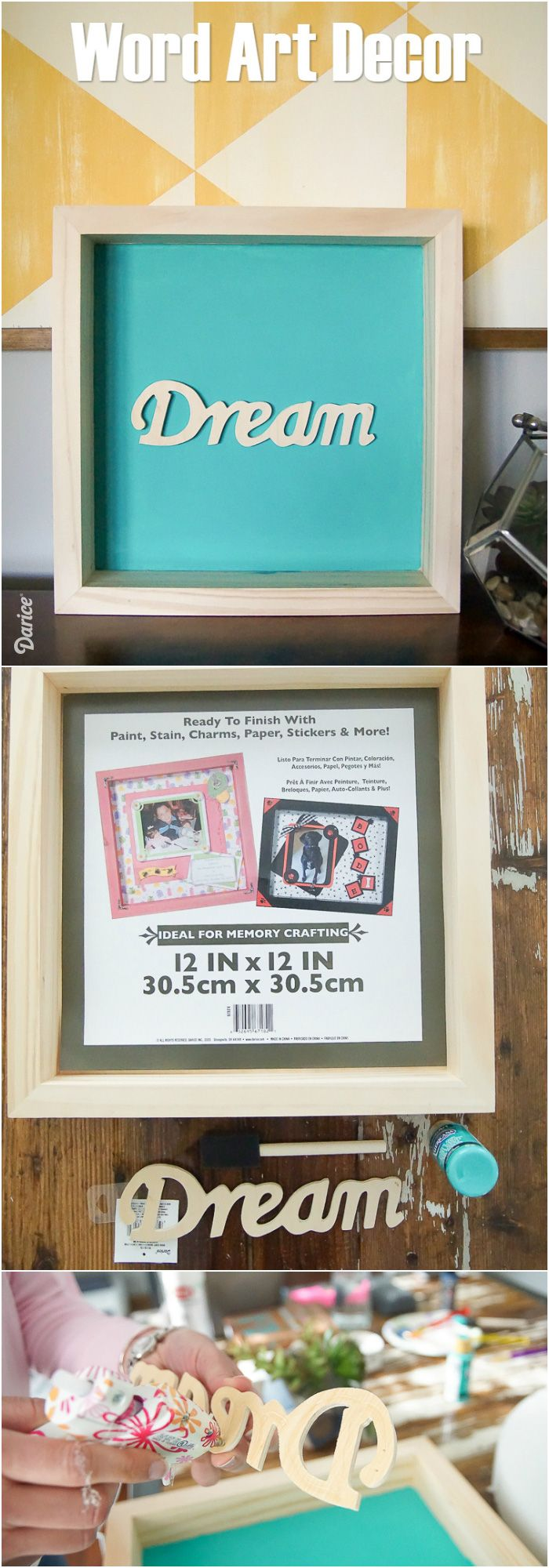 Bright vases trays dishes aroma lamps mirrors in beautiful frames - Diy Word Art Dream Shadowbox Decor