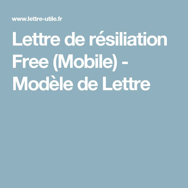 modele lettre resiliation free