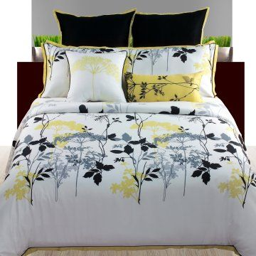 Grey and Yellow--want this for my bedroom!! all my furniture will be black with really light grey walls