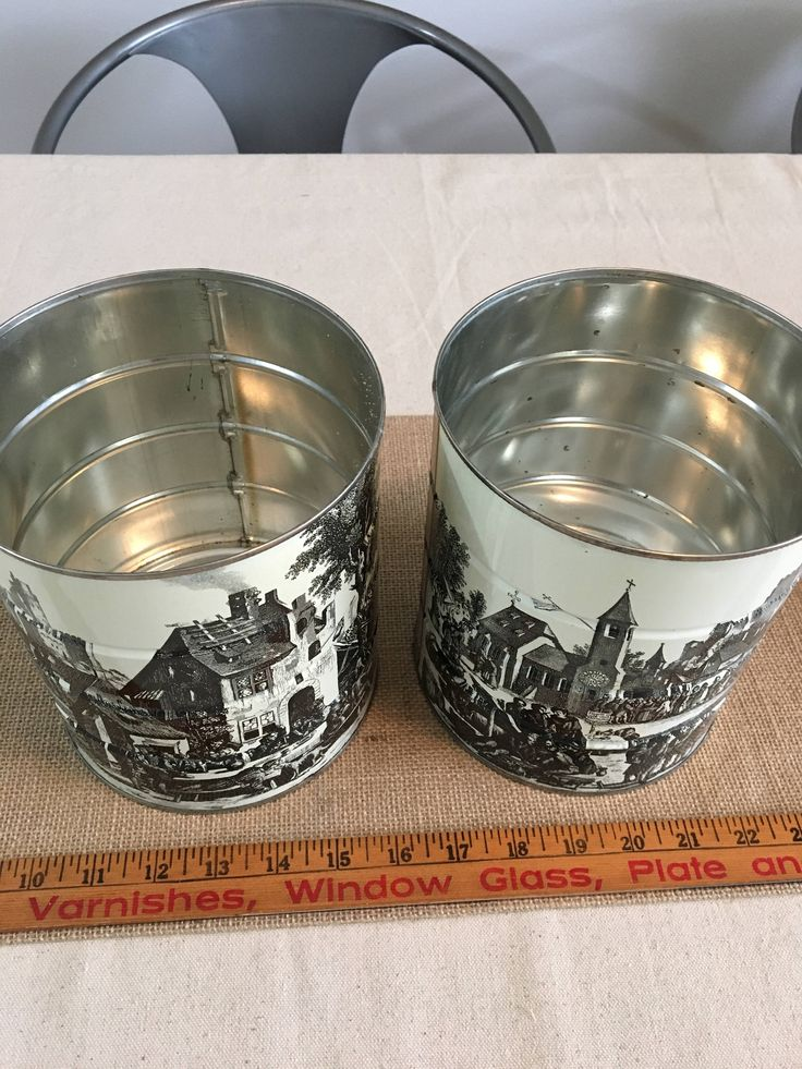 Vintage Hills Brothers Coffee Cans- Black and White toile- set of 2 by Bridgehill5anddime on Etsy
