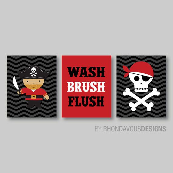 Kid Bathroom Art   Child Bathroom Art   Pirate Bathroom Art   Pirate  Bathroom Decor   Bathroom Rules   Pirate Wall Art Print. Canvas. NS 373