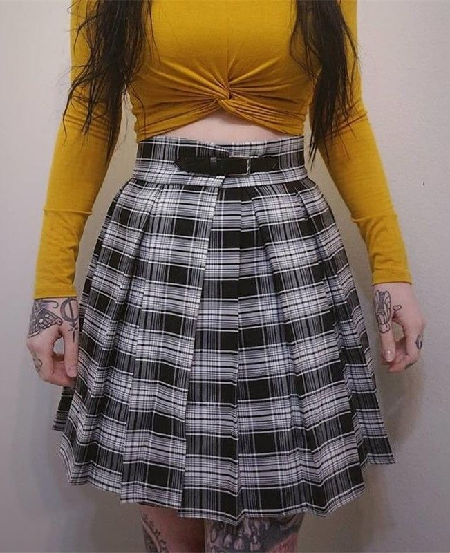 5a2bdd878484 High Waist Pleated Skirt with Buckle in 2019 | Grunge Fashion ...