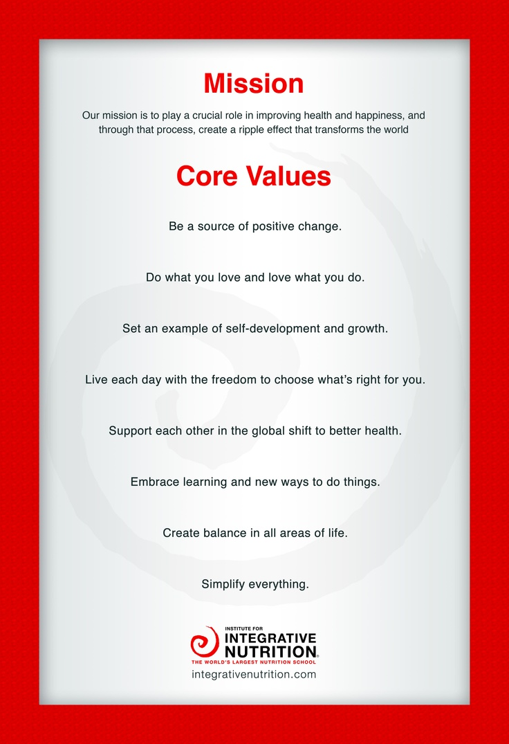 Mission Institute For Integrative Nutrition Integrative Nutrition Health Coach Core Values Holistic Health Coach Lifetime fitness employee mission statement