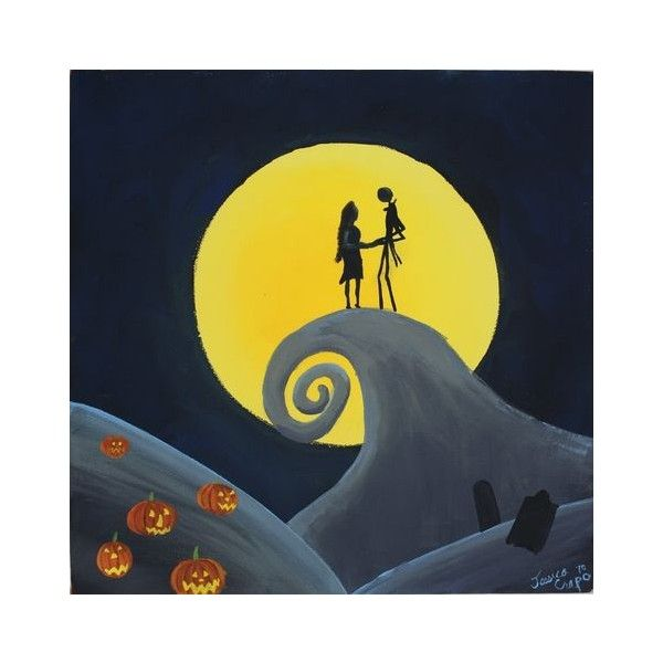 Nightmare before Christmas Acrylic Painting- Jack Skellington 14 x 11,... ❤ liked on Polyvore featuring home, home decor, wall art, canvas wall art, christmas paintings, acrylic wall art, canvas painting and christmas wall art